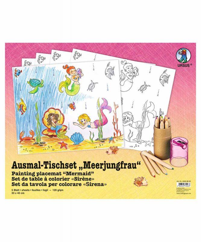 """Ausmal-Tischsets """"Meerjungfrau"""", 33 x 40 cm, 5 Blatt Art.-Nr.: 24620000"""