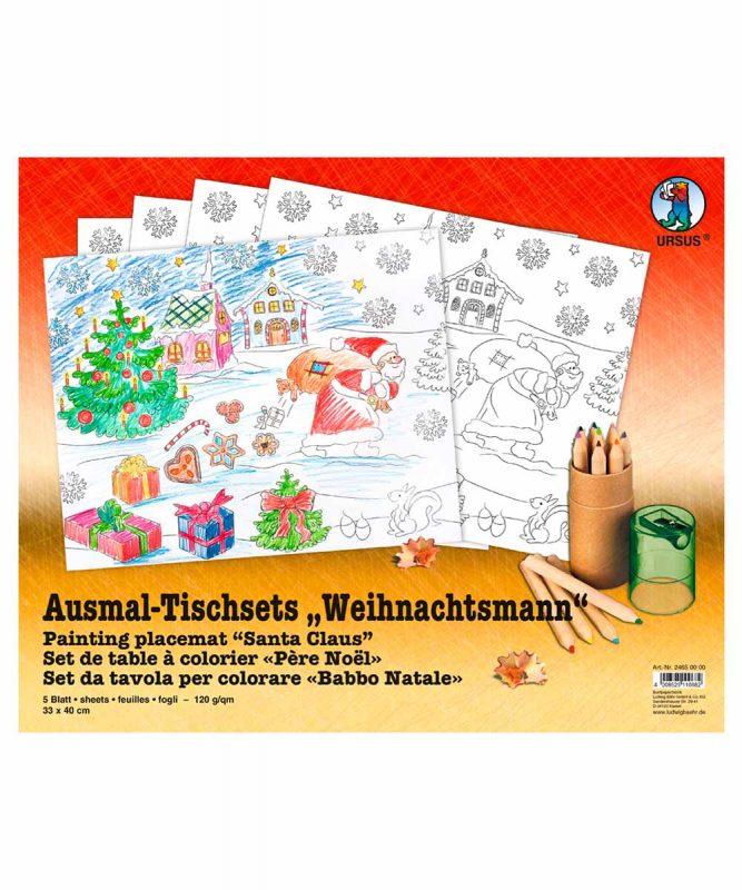 """Ausmal-Tischsets """"Weihnachtsmann"""", 33 x 40 cm, 5 Blatt Art.-Nr.: 24650000"""