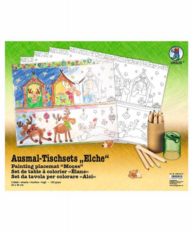 "Ausmal-Tischsets ""Elche"", 33 x 40 cm, 5 Blatt Art.-Nr.: 24660000"