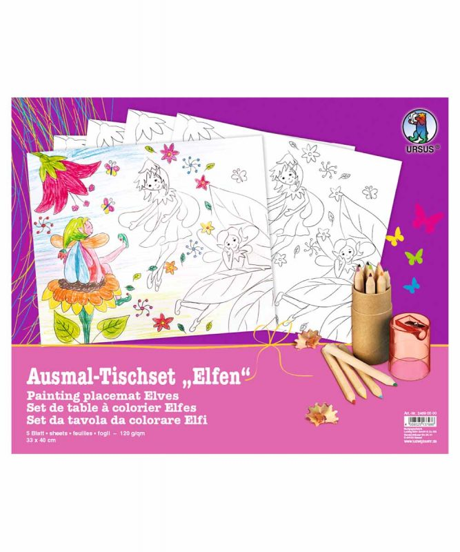 "Ausmal-Tischsets ""Elfen"", 33 x 40 cm, 5 Blatt Art.-Nr.: 24690000"