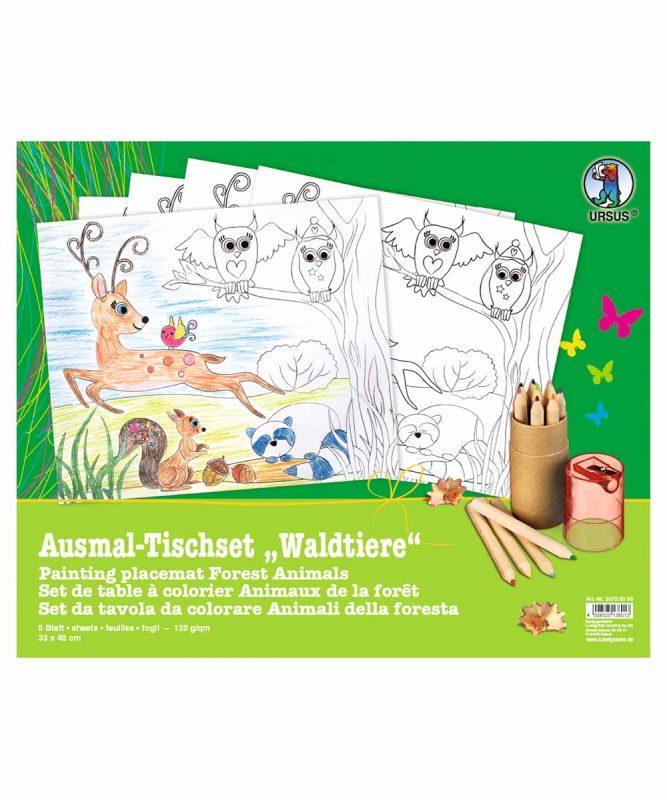 """Ausmal-Tischsets """"Waldtiere"""", 33 x 40 cm, 5 Blatt Art.-Nr.: 24720000"""