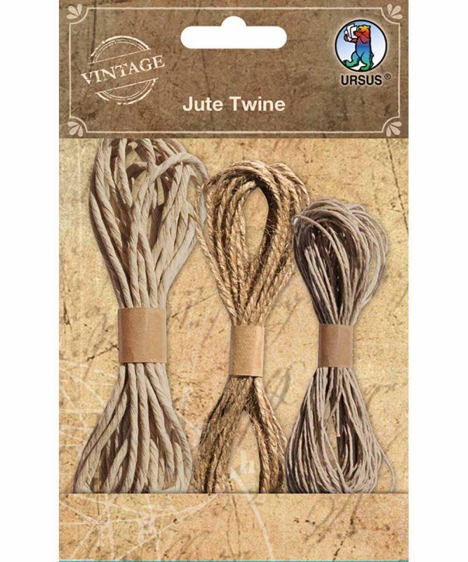 Jute Twine Kordel in verschiedenen Stärken und Längen, 3 Stück (1,5 mm x 3 m, 2 mm x 3 m und 1 mm x 10 m) Art.-Nr.: 40600001