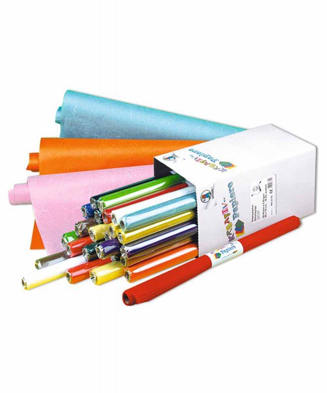 Seidenpapier mit Fasern vom Maulbeerbaum, 25 g/m² 50 x 70 cm, auf Papphülse gerollt, 5 Bogen sortiert in 15 Farben, Displaykarton Art.-Nr.: 4822299