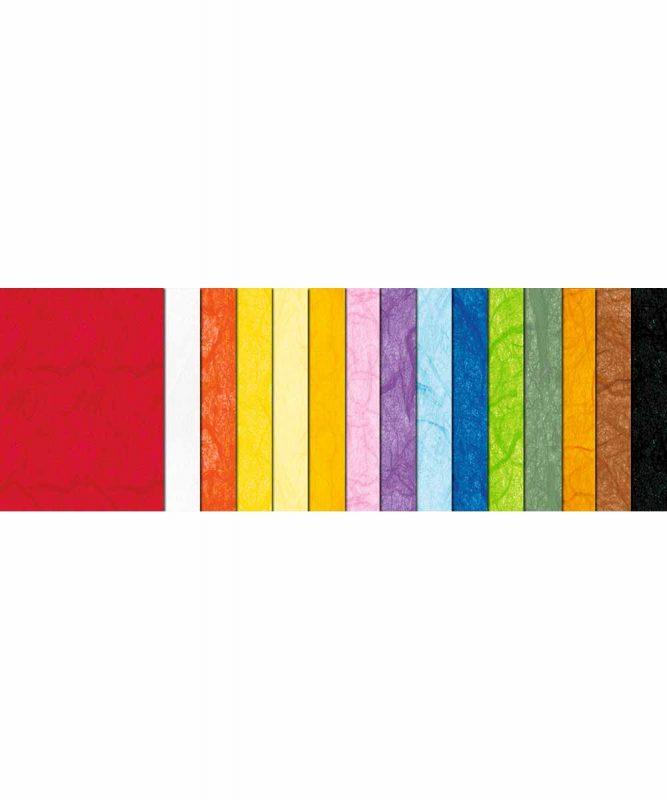 Seidenpapier mit Fasern vom Maulbeerbaum, 25 g/m² 50 x 70 cm, 25 Bogen sortiert in 15 Farben Art.-Nr.: 4812299