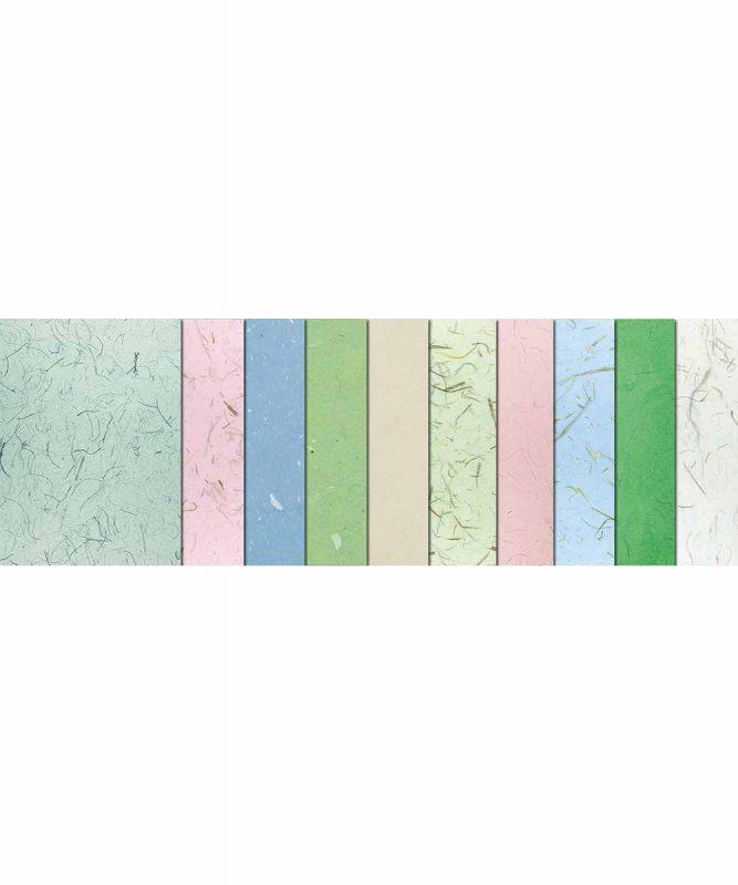 """Naturpapiere, """"Mystique"""", je 3 Blatt """"Mikado"""" und """"Muschelpapier"""", 4 Blatt """"Bambuspapier"""" Artikel Nr.: 61610002"""