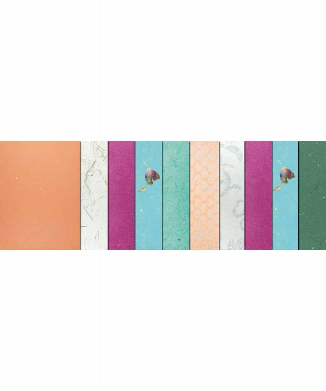 """Naturpapiere, """"Oceana"""", 1 Blatt """"Bambuspapier"""", je 2 Blatt """"Muschelpapier"""", """"Lace Paper"""", """"Blütenpapier"""", 3 Blatt """"Bananenpapier"""" Artikel Nr.: 61610003"""