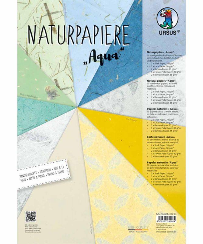 """Naturpapiere, """"Aqua"""", 1 Blatt """"Blütenpapier"""", je 2 Blatt """"Muschelpapier"""", """"Bananenpapier"""", """"Bambuspapier"""", 3 Blatt """"Lace paper"""" Artikel Nr.: 61610004"""