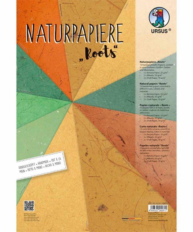 "Naturpapiere, ""Roots"", 2 Blatt ""Muschelpapier"", 3 Blatt ""Mikado"", 5 Blatt ""Bananenpapier"" Artikel Nr.: 61610005"