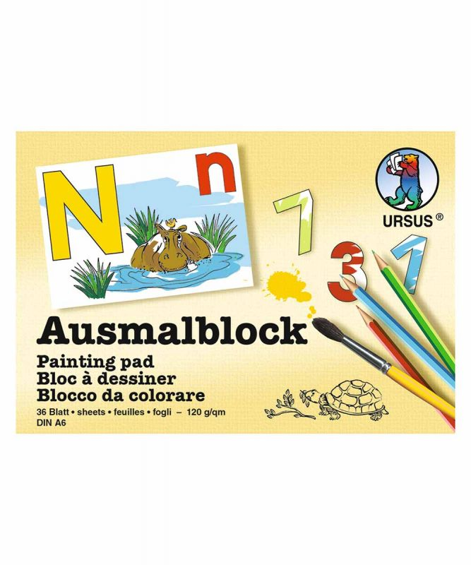 Ausmalblock 120 g/m², DIN A6, 36 Blatt mit verschiedenen Motiven, Art.-Nr.: 6410099