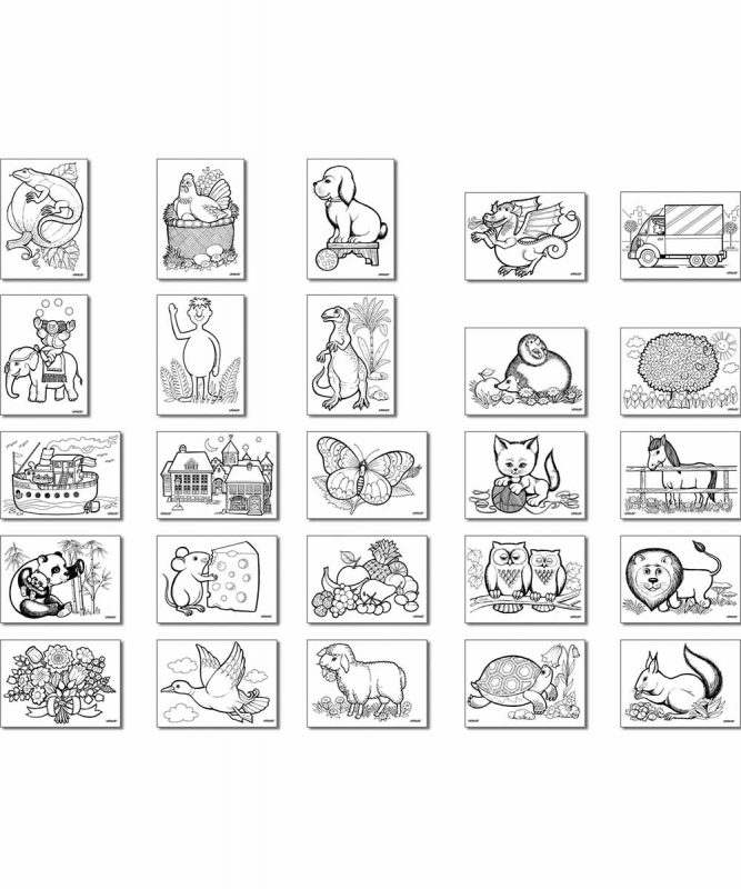 Ausmalkarten 250 g/m², 12 x 17 cm, 25 Blatt sortiert in 25 Motiven Art.-Nr.: 6600099