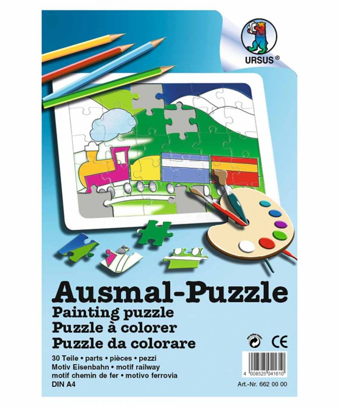 "Ausmal-Puzzle ""Eisenbahn"", DIN A4, 30 Teile weiß Art.-Nr.: 6620000"