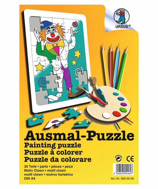 """Ausmal-Puzzle """"Clown"""", DIN A4, 30 Teile weiß Art.-Nr.: 6630000"""