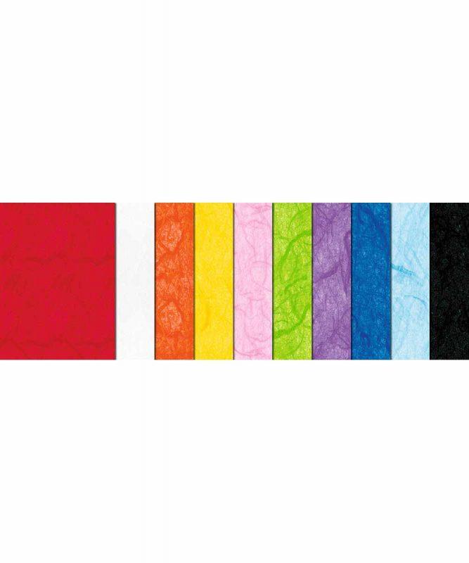 Seidenpapier mit Fasern vom Maulbeerbaum 23 x 33 cm, 10 Blatt sortiert in 10 Farben Art.-Nr.: 8320099