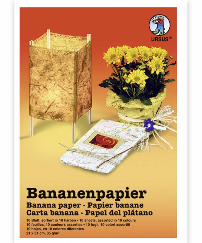 Naturpapier mit Fasern vom Bananenbaum, 35 g/m² 21 x 31 cm, 10 Blatt sortiert in 10 Farben Art.-Nr.: 8650099