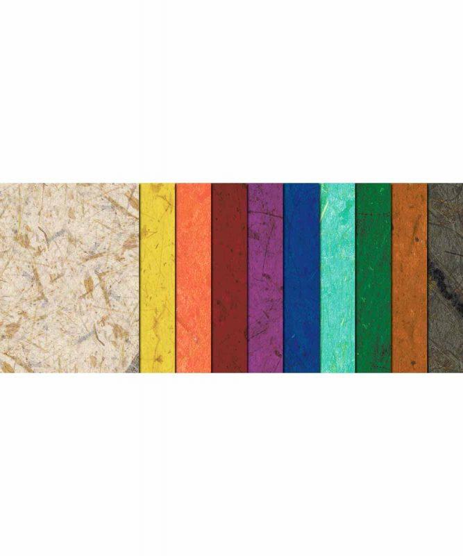 Naturpapier mit Fasern vom Bananenbaum, 35 g/m² 47 x 64 cm, 25 Bogen sortiert in 11 Farben Art.-Nr.: 4852299 21 x 31 cm, 10 Blatt sortiert in 10 Farben Art.-Nr.: 8650099