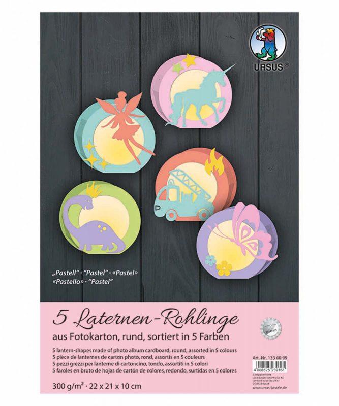 """Laternen-Rohlinge rund Sortierung """"Pastell"""" Art.-Nr.: 1330099"""