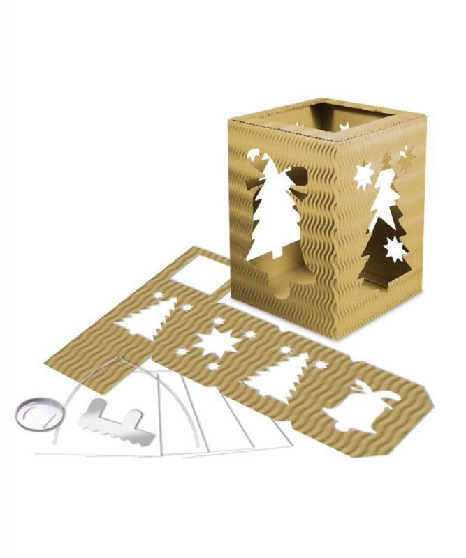"""Laternenpackung Form 5 """"Weihnachten"""" gold Art.-Nr.: 1500079"""