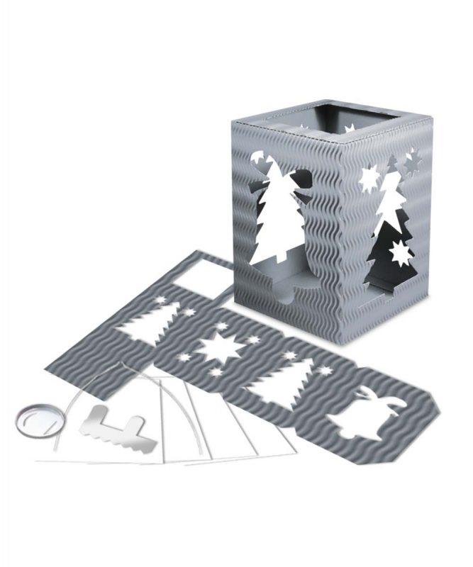 """Laternenpackung Form 5 """"Weihnachten"""" silber Art.-Nr.: 1500089"""