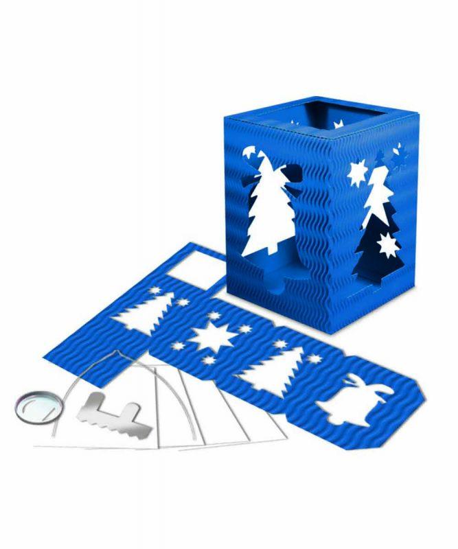 """Laternenpackung Form 5 """"Weihnachten"""" mittelblau Art.-Nr.: 1500033"""