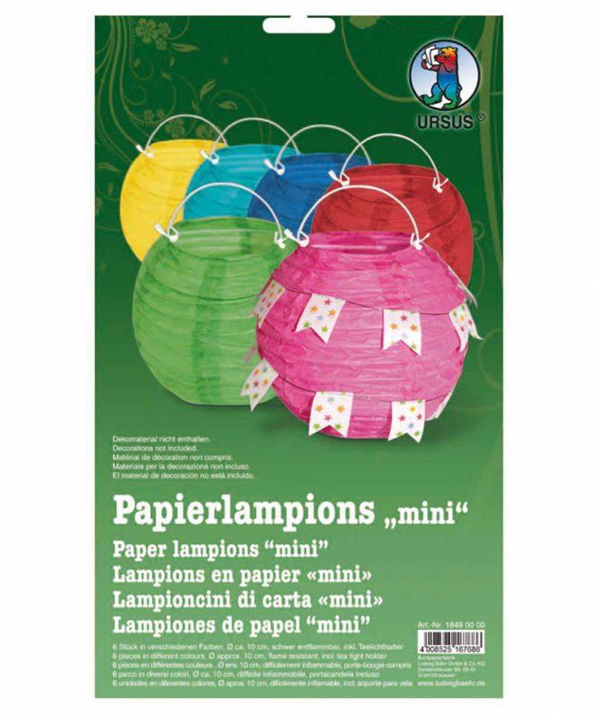 Papierlampions 6 Stück sortiert in 6 Farben, Ø ca. 10 cm Art.-Nr.: 18490000