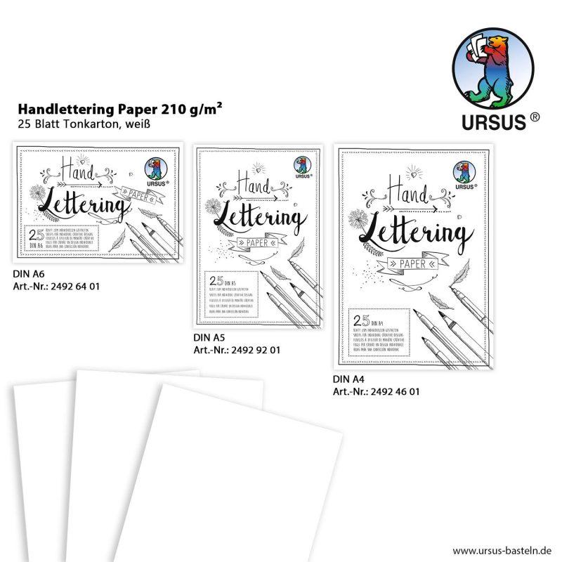 Handlettering Paper 210 g/m² 25 Blatt Tonkarton, weiß DIN A6 Art.-Nr.: 24926401 DIN A5 Art.-Nr.: 24929201 DIN A4 Art.-Nr.: 24924601