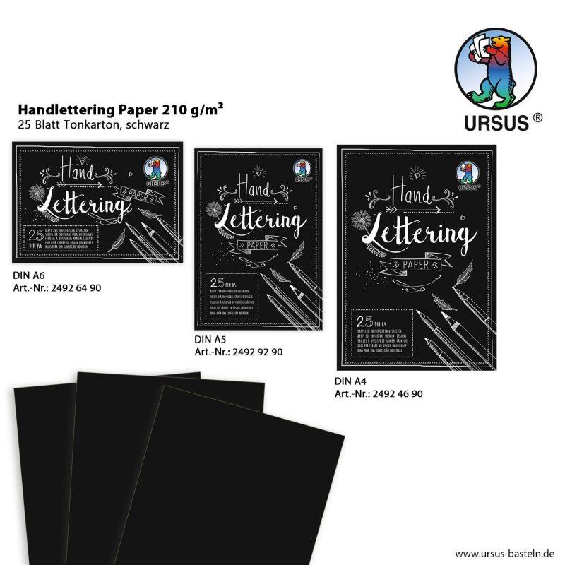 Handlettering Paper 210 g/m² 25 Blatt Tonkarton, schwarz DIN A6 Art.-Nr.: 24926490 DIN A5 Art.-Nr.: 24929290 DIN A4 Art.-Nr.: 24924690